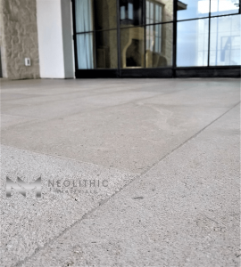 Close up view of French Limestone Flooring installed in a house