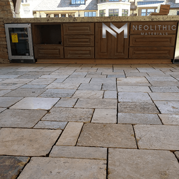 Reclaimed biblical limestone used in the flooring at home
