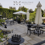 Reclaimed Dalle de France Stone used in outdoor flooring of an rooftop