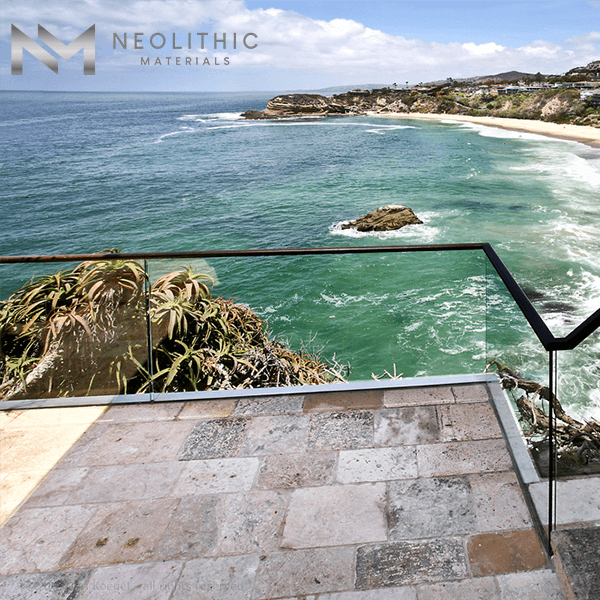 Salvage Limestone flooring installed on the terrace of a house with an amazing ocean view