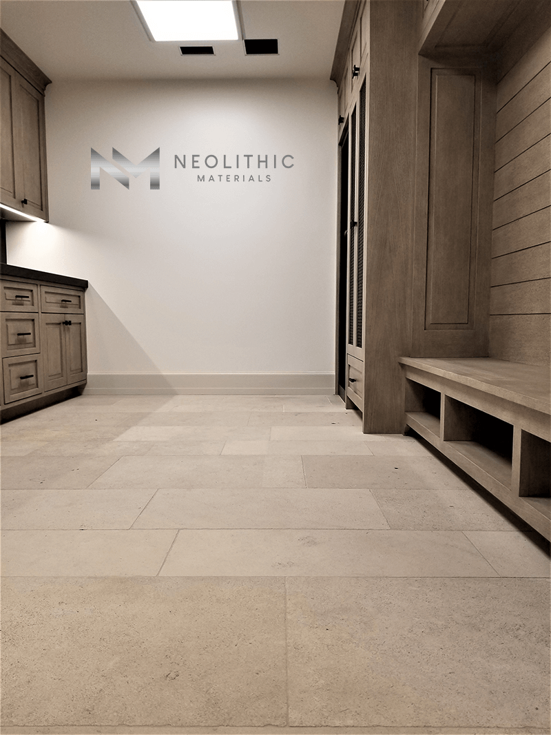 Dalle de Foix Stone Reclaimed Stone used in flooring of an empty room
