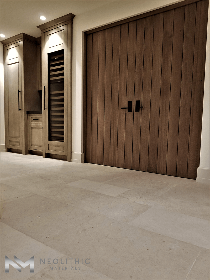 Close up view of Antique Dalle de Foix Stone installed in a house near the door