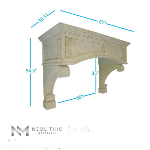 Left side view with measurement of CH 851 one of Reclaimed Stone Kitchen Hoods of Neolithic Materials