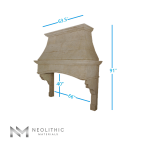 Right side view with measurement of CH 875 one of Stone Kitchen Hoods of Neolithic Materials