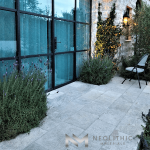 Corsica Limestone used in the outdoor flooring of a house