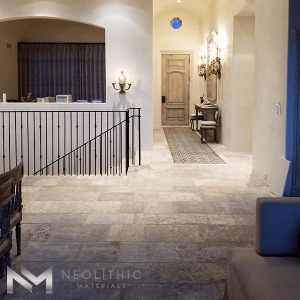 Classic Corsica Limestone used in flooring near stairway of a house