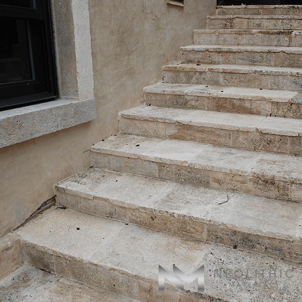 Reclaimed Corsica Limestone used in flooring of a stairway
