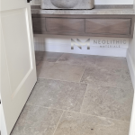 Dalle de Montresor Stone used in the flooring and in the sink of a comfort room