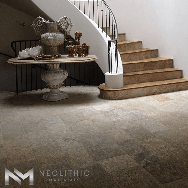View of Reclaimed Corsica Stone during construction used in flooring