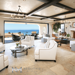 Antique Maltese Limestone used in flooring in the living room of a classic house with an amazing ocean view