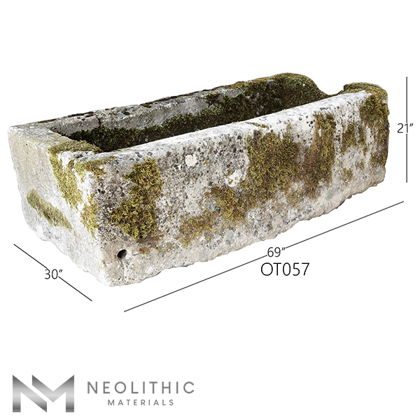 Side view with measurement of OT057 one of Trough Stone Sinks of Neolithic Materials