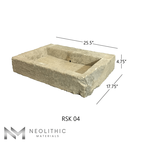Right side view with measurement of RSK 04 - BU 100 one of Stone Sink of Neolithic Materials