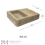 Side view with measurement of RSK 65 - BU 100 one of High Quality Stone Sinks of Neolithic Materials