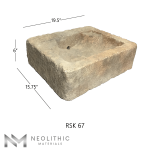 Side view with measurement of RSK 67 - BU 100 one of Antique Stone Sinks of Neolithic Materials