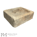 Side view of RSK 67 - BU 100 one of Antique Stone Sinks of Neolithic Materials