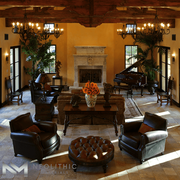 Reclaimed Antediluvian Limestone used in the flooring of a classic living room