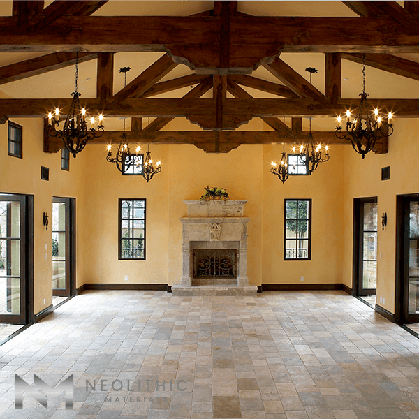Antique Reclaimed Antediluvian Limestone used in the flooring of a classic empty living room