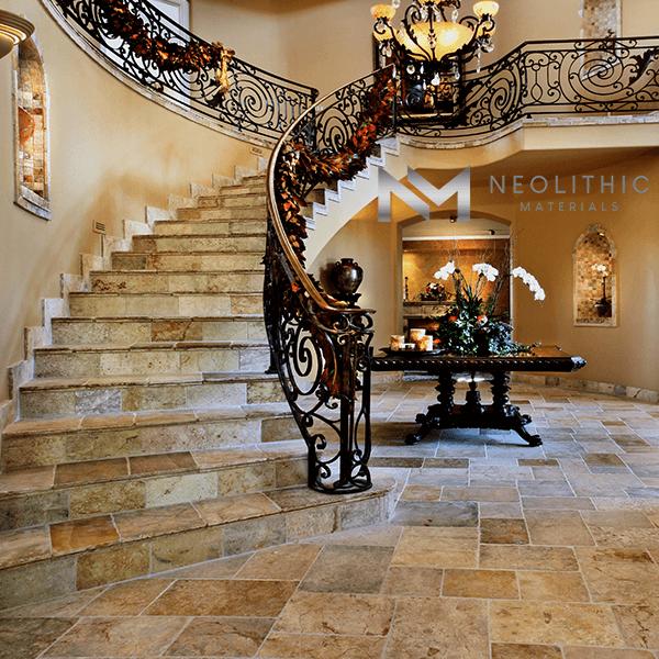 Antique Reclaimed Antediluvian Stone used in flooring of a stairway