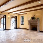 Antique Antediluvian Limestone used in the flooring of an empty living room