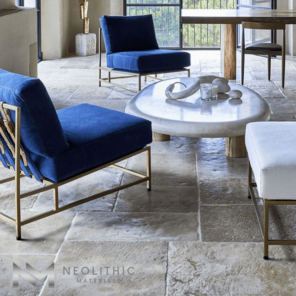 Reclaimed French Limestone used in the flooring of a living room