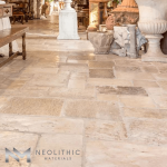 Reclaimed Italian Limestone Flooring construct in the living room of a house
