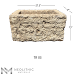 Front view with measurement of TR 03 - BU 104 one of Rectangular Stone Trough Sinks of Neolithic Materials