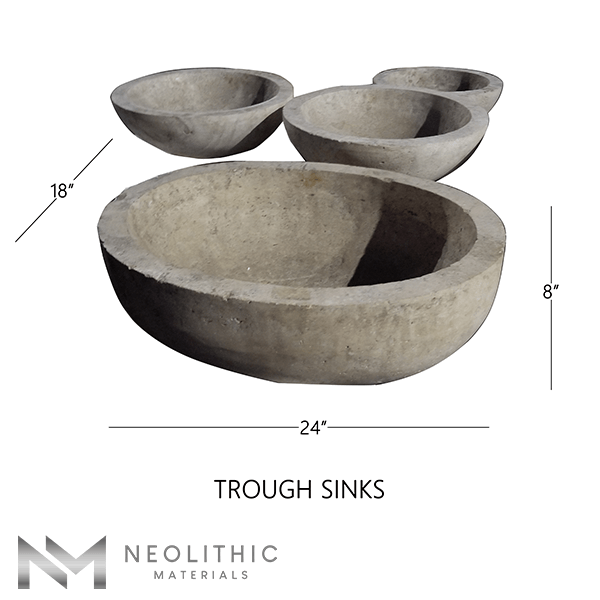 Product Image with measurement of four Stone Trough Sinks one of the products of Neolithic Materials