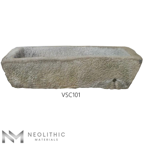 Front view of VSC101 - TR 103 one of Reclaimed Stone Trough Sinks of Neolithic Materials
