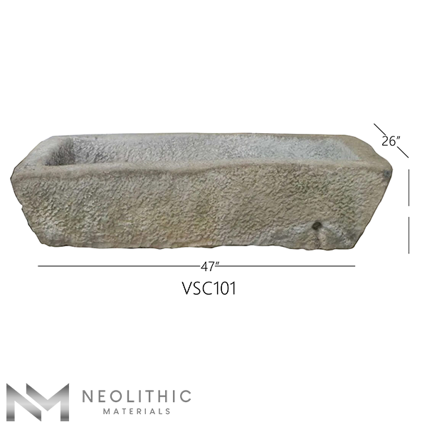 Front view with measurement of VSC101 - TR 103 one of Reclaimed Stone Trough Sinks of Neolithic Materials