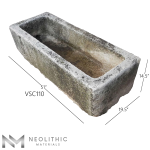 Side view with measurement of VSC110 - TR 104 one of Stone Trough Sinks of Neolithic Materials