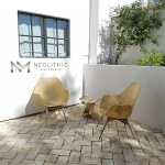 Reclaimed Spanish Terracotta installed as flooring in a terrace with a table set good for two