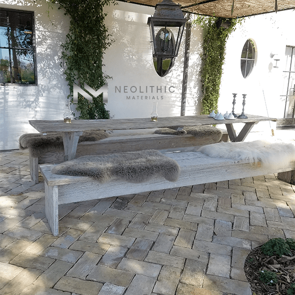 Reclaimed Spanish Terracotta installed as flooring in the outdoor dining area