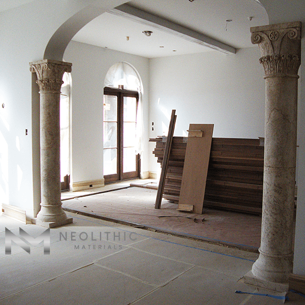 Reclaimed Stone Columns is being installed in the newly constructed living room